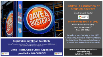 Next Social: Feb 27 Dave and Buster's